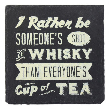 A Retro Slate Square Drinks Coasters ~ Slate Drinking Themed Coaster - Whisky