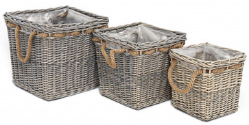 Set of 3 Rustic Willow Home Storage Basket With Handles ~ Beautiful Wicker Baskets