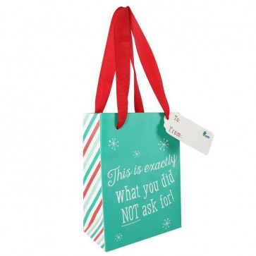 Small Green Christmas Gift Bag With Lace Handles ~ This Is Exactly What You Did NOT Ask For!