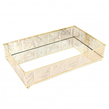 Beautiful Gold Lattice Mirrored Display Dish | Rectangle Decorative Metal Table Centerpiece | Perfume Jewellery Organiser Vanity Tray - 28cm