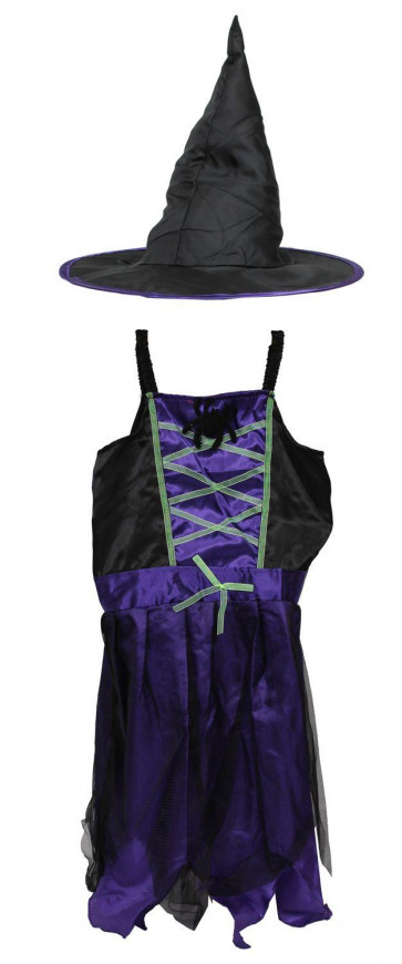 Haunted House Girls Halloween Outfit Dress Up Set ~ Black And Purple Spider Witchs Dress With Witches Hat - 4-6 Years