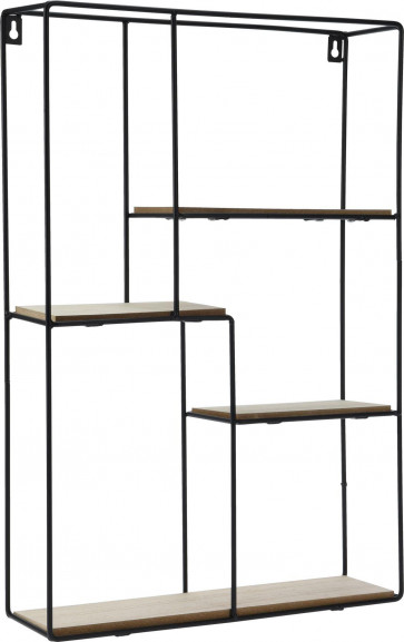 Black Metal Wall Mounted Multi Shelf Storage Organiser Unit Display Rack - Rectangular