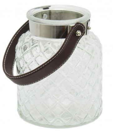 Clear Seeded Glass Tealight Lantern Candle Holder With Leather Style Handle