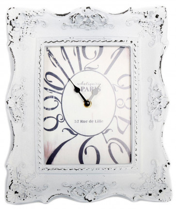 25Cm X 29.5Cm Antique Style Distressed White Wall Clock