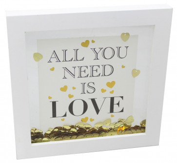 White Wooden Gold Heart Confetti Decorative Box Printed Quote Frame 17cm ~ All You Need Is Love