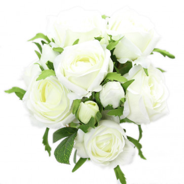 Beautiful 3 Head Rose Spray Artificial Flower Bouquet Bunch Bridal Roses ~ Iceberg White