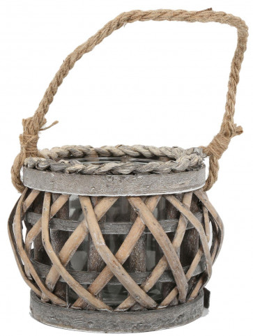 Small Wood And Willow Hurricane Candle Lantern Tealight Holder