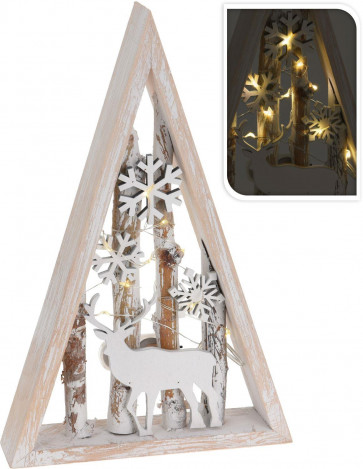 Wooden Light Up LED Christmas Tree Reindeer Snowflake Forest Scene Freestanding Decoration - Small