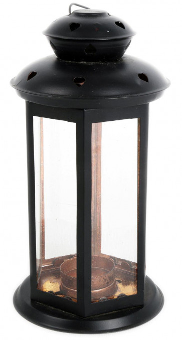 Black Iron And Glass Heart Tealight Candle Lantern Holder ~ 21Cm