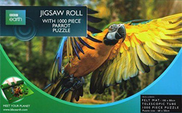 BBC Earth 1000 Piece Jigsaw Puzzle With Felt Jigsaw Roll ~ Blue And Yellow Macaw Parrot