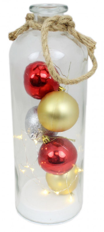 Large Light Up Christmas Tree Bauble LED Glass Jar Decoration ~ Gold