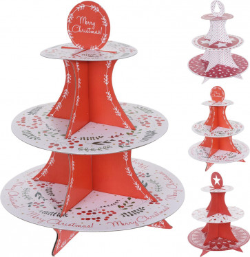 Self-Assembly 3 Tier Festive Christmas Design Cardboard Cupcake Mince Pie Cake Stand - Design Varies