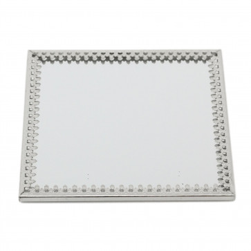 10cm Decorative Mirror Glass Display Plate | Mirrored Candle Tray | Silver Glass Coaster - Square