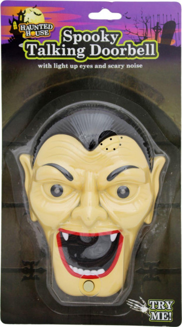 Haunted House Spooky Talking Halloween Doorbell With Lights Sounds And Surprise Spider ~ Count Dracula Vampire