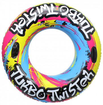 Large Inflatable Pool Turbo Twister Swim Tube 42 Inch Rubber Swimming Ring With Hand Grips ~ Colour Varies