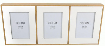Triple White Wood Edge Multi Photo Frame 47Cm X 21Cm