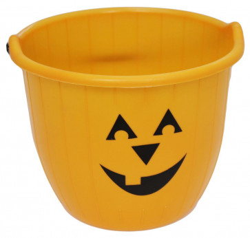 Haunted House Large Halloween Candy Bucket - Pumpkin Face Trick Or Treat Jumbo Plastic Bucket With Handle ~ Orange