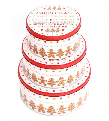 Set of 3 Festive Gingerbread Christmas Cookie Biscuit Barrel Round Storage Tin Gift Boxes