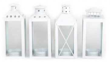 White Metal And Glass New England Standing Table Top Tealight Candle Lantern ~ Design Vary