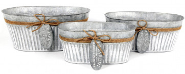 Le Jardin Set Of 3 Galvanised Ribbed Oval Planters With Tags