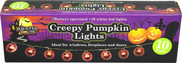 Haunted House Creepy Pumpkin Led Lights - 10 Ultra Orange Pumpkin Halloween Fairy Lights ~ Great Halloween Party Decoration