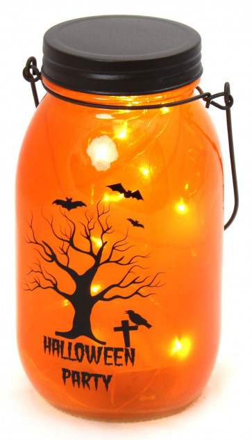 Hanging Glass Jar LED Battery Operated Halloween Lantern Party Decoration ~ Orange Halloween Party
