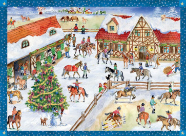Traditional Horse Riding Stables Card Advent Calendar With Envelope