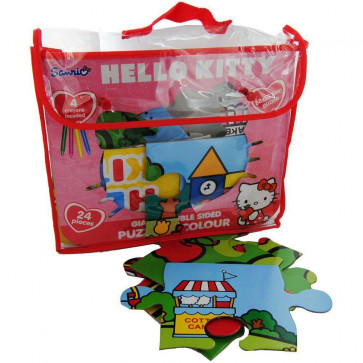Hello Kitty 24 Piece Double Sided Giant Floor Puzzle And Colouring In Puzzle