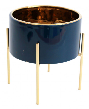 Gold Lined Ceramic Cache Plant Pot Planter With Stand ~ Blue