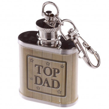 1Oz Stainless Steel Mini Hip Flask Key Ring Keyring - Top Dad