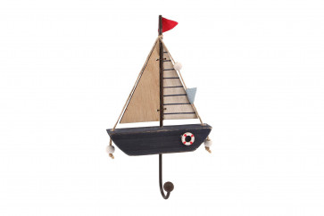 Decorative Nautical Wooden Hanging Sailing Boat Wall Hook - Single Hook