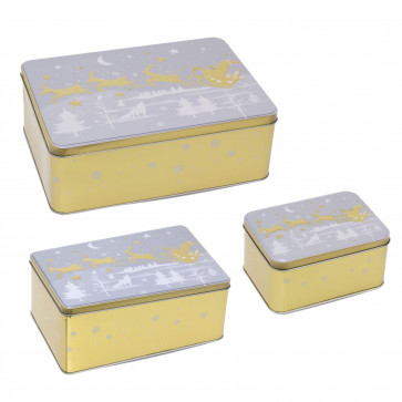 Set Of 3 Father Christmas Gold Storage Tins   Triple Festive Rectangle Nesting Tins   Fairy Cake Biscuit Cookie Muffin Treat Storage Tin Trio