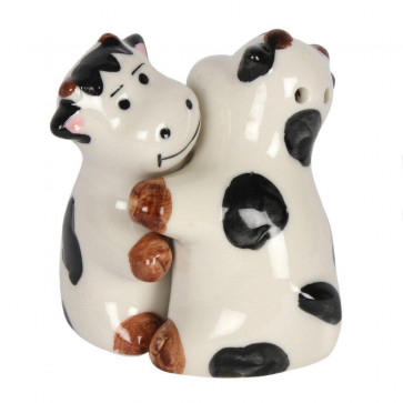 Adorable Hugging Cows Cruet Set - Hand painted Cow Themed Animal Salt And Pepper
