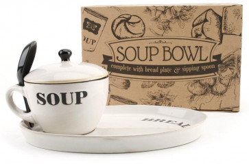 Natural Coloured Soup Bowl With Lid,  Bread Plate And Spoon ~ White