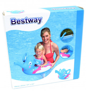 Bestway Elephant Squirter Spray Inflatable Swimming Pool Swim Ring Float ~ Blue
