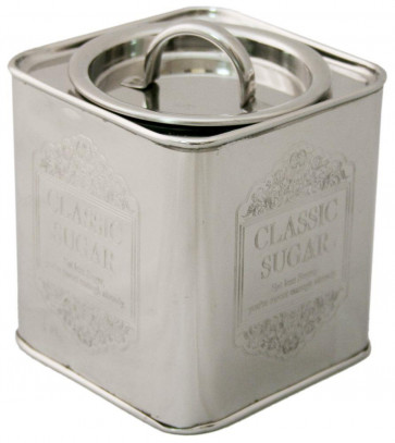 Charming Ornate Aluminium Storage Container Canister Tin With Lid - Sugar