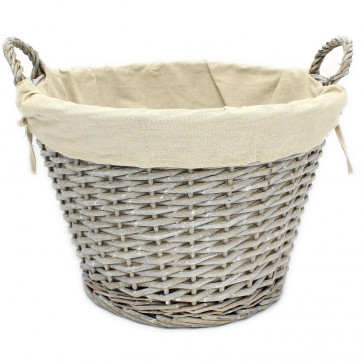 Beautiful Lined Round Storage Wicker Basket with Handles