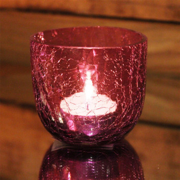 Crackle Tealight Candle Holder Pot - Magenta Pink