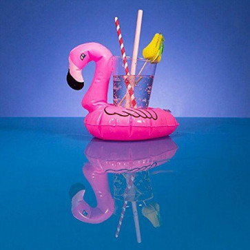 Summer Breeze Tropical Party Inflatable Floating Flamingo Drink Can Bottle Holder Coaster