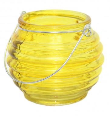 Bright Coloured Glass Ribbed Tealight Candle Holder Pot With Wire Handle ~ Yellow