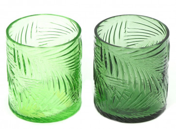 Tropical Palm Leaf Green Glass Tealight Candle Holder Candlepot ~ Colour Varies