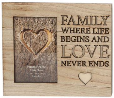 Wooden Cut Out Word Photo Frame 4 X 6 ~ Family