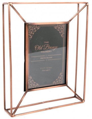 The Old Bronze Foundry Copper Style Wire Box Frame ~ Freestanding Photo Frame 5 X 7