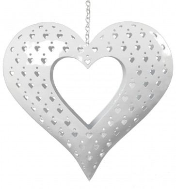 Hanging White Metal Heart Tealight Candle Holder Decoration