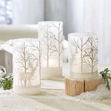 Set Of 3 Frosted Christmas Snowy Forest Stag Reindeer Scene Tealight Candle Holders