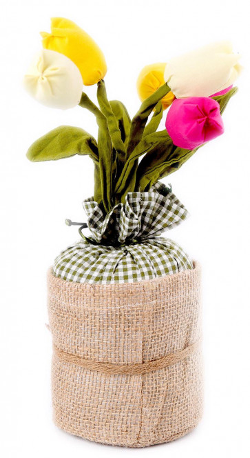 Hessian Flower Pot Doorstop With Tulips - Fabric  Door Stop