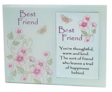 Freestanding Floral Friends Bevelled Glass Picture Photo Frame 6 x 4 ~ Best Friends