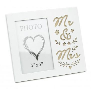White Wooden Freestanding Mr And Mrs Wedding Photo Frame