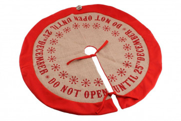 Do Not Open Until 25th December' Christmas Tree Skirt Base Cover Xmas Decoration