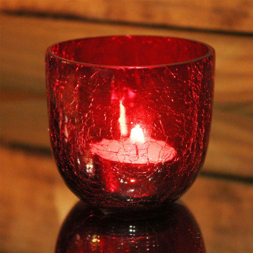 Crackle Tealight Candle Holder Pot - Red